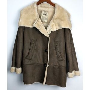 Zara Trafaluc Brown Faux Suede Sherpa Coat